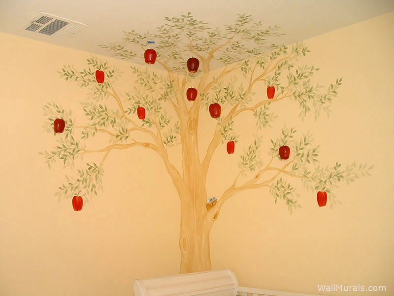Baby room wall murals nursery wall murals for baby boys for Apple tree mural