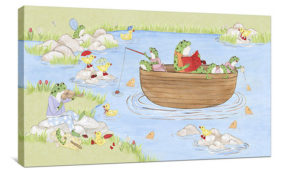 Fishing Frogs - Canvas Wall Art