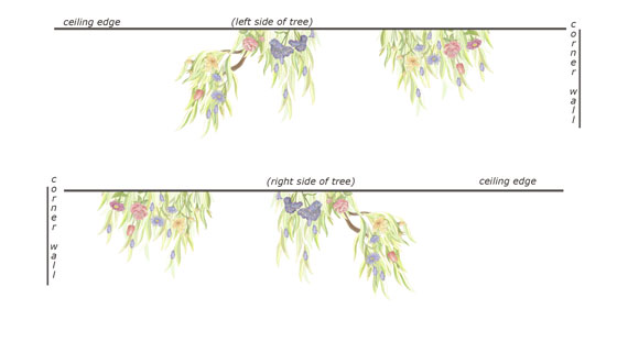 MINI -Flowering Tree Border Decal - Layout Sheet