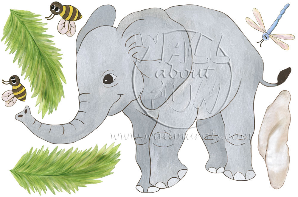 Baby elephant wall decals for Elephant wall mural