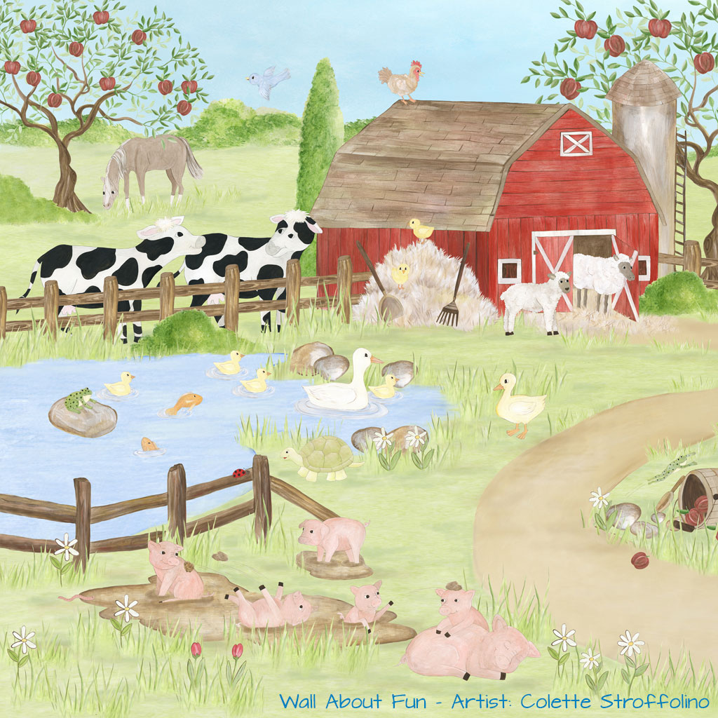 Barnyard fun canvas wall art for Barnyard wall mural
