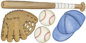 Baseball Equipment Wall Decals