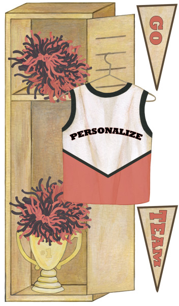 Personalized cheerleader wall decals for Cheerleader wall mural