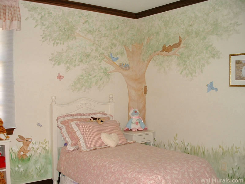 Tree Wall Mural in Little Girls Bedroom