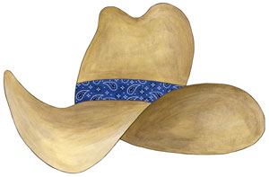 Cowboy Hat Wall Decal - Navy Blue Bandana
