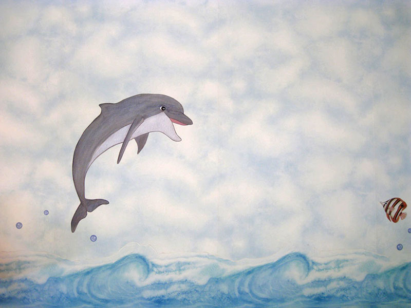 dolphin wall decals diving dolphin bathroom wall stickers wall art decal