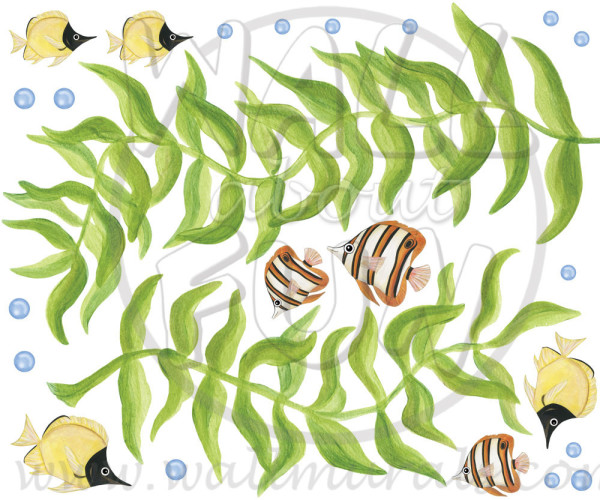 Double Seaweed - Wall Decal Sheet (close-up)