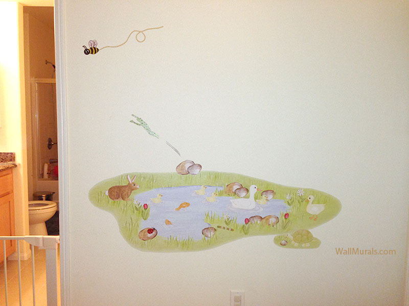 Barnyard dreaming farm animal wall decals for Duck pond mural