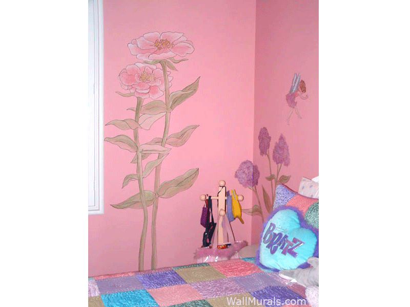 Flower Fairy Mural for Girls Bedroom