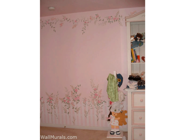 Mural in Girls Room - Flower - Vines Border