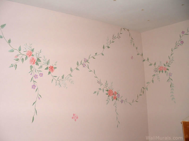 Hand-painted Flower Border for Girls Room