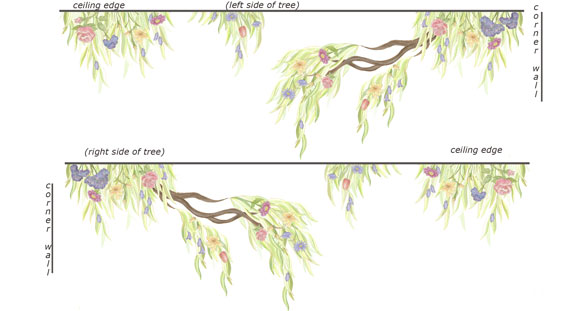 LARGE -Flowering Tree Border Decal - Layout Sheet