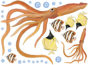 Giant Squid Wall Decals