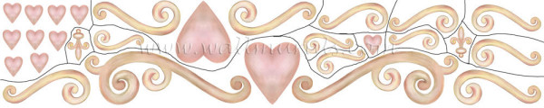 Heart and Scroll Wall Decal (close-up)
