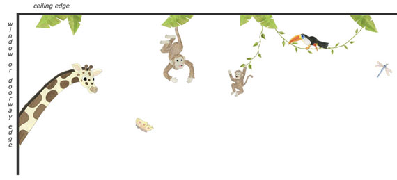 Jungle Animal Wall Decals - Layout Sheet