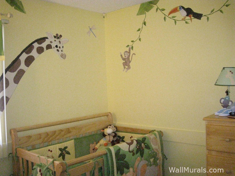 Jungle animal wall decals for Animal wall mural