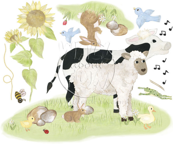 Lamb & Cow Decal Sheet (close-up)