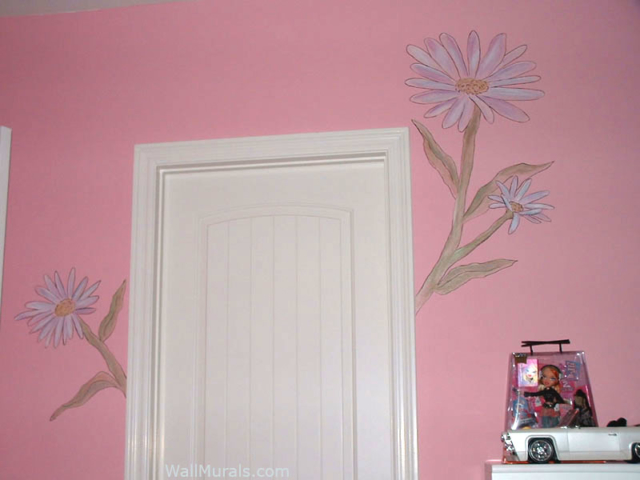 Large Flower Mural in Girls Room