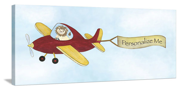 """Sky King"" (Lion Pilot) - Personalized Canvas Wall Art"