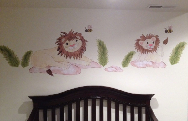 Daddy Lion and Baby Lion Wall Decals - Installed