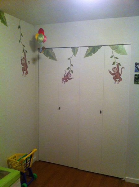 Monkey and Banana Leaf Decals - Installed