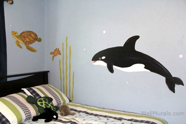 Ocean Animal Wall Decals - Installed