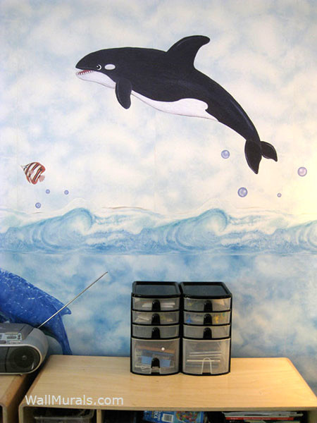Orcas Whale Wall Decals - Installed