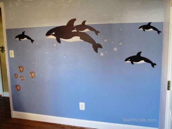 Killer Whale Wall Decals - Installed