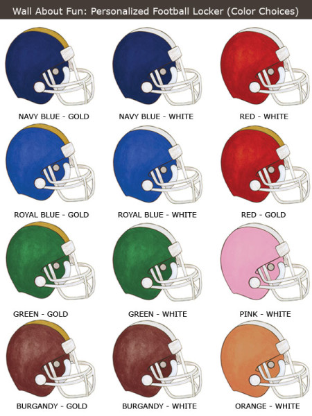 Personalized Football Helmet - Color Choices