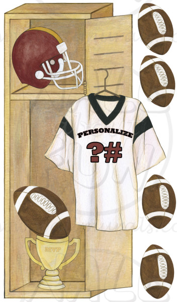 Personalized Football Locker Wall Decals