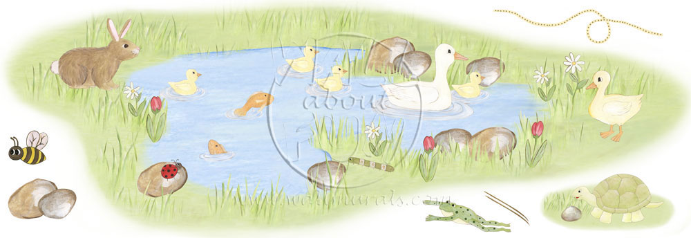 Duck pond wall decals for Duck pond mural