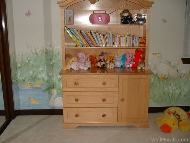 Duck Pond Wall Mural in Little Girls Bedroom