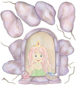 Rainbow Princess in Castle Window - Wall Decal Sheet