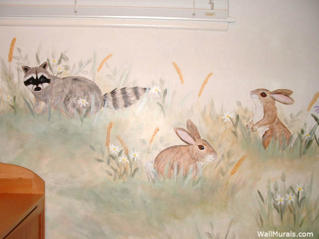 Racoon Mural with Bunnies