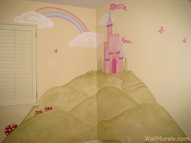 Rainbow - Castle Mural in Girls Bedroom