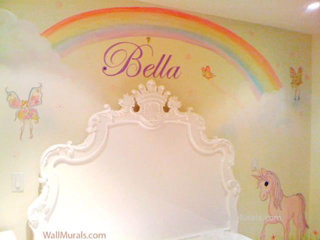 Rainbow Wall Mural in Girls Bedroom