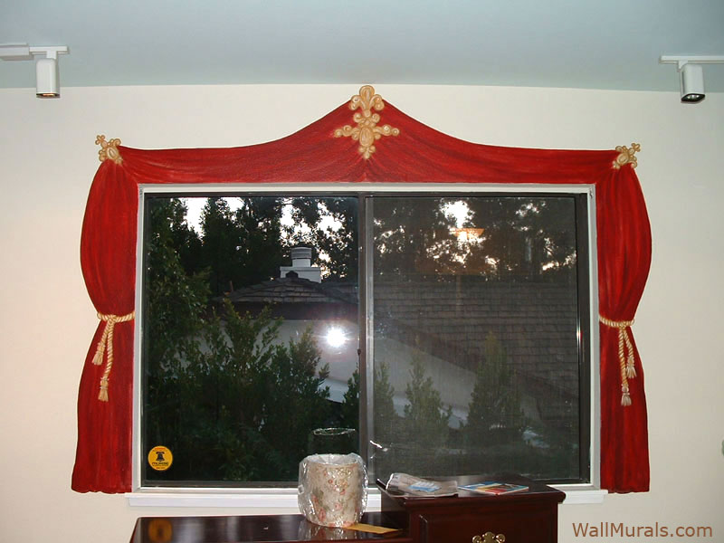 Painted Curtain Mural Around Real Window