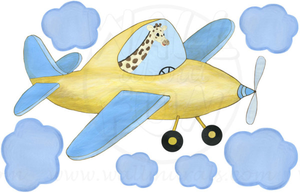 Giraffe Pilot - Yellow Airplane Decals (close-up)