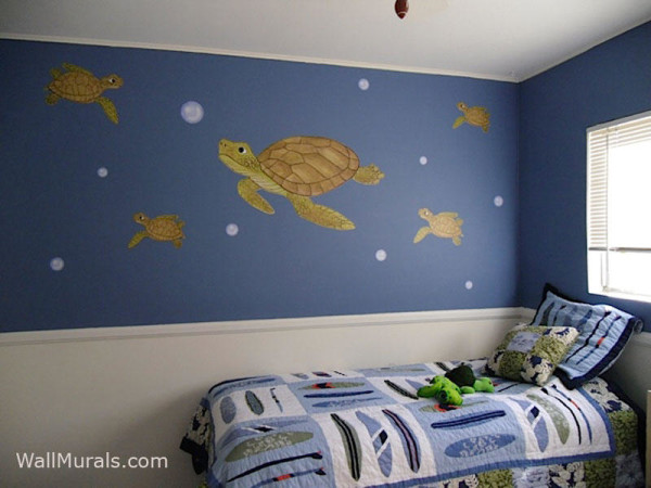 Large Sea Turtle Decals - Installed