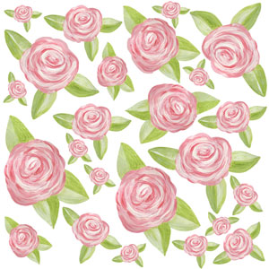 Single Rose Wall Decal Sheet