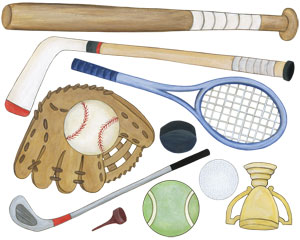 Sports Equipment Wall Decals