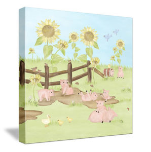 Playful Piggies - (sunflower background) Canvas Wall Art