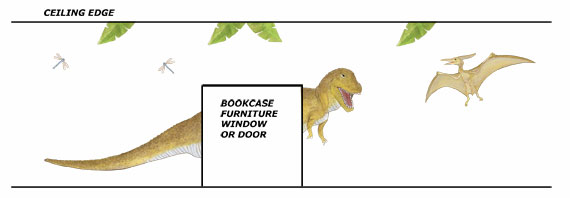 T-Rex Dinosaur Wall Decals - Layout Sheet
