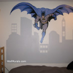 Batman Decal with Painted Cityscape Mural
