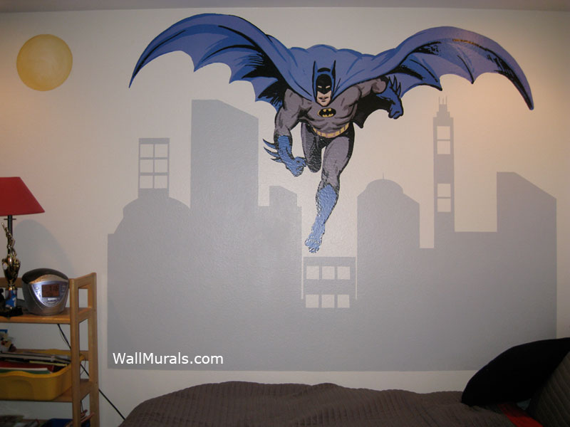 Batman wall mural with painted cityscape for Batman cityscape wall mural