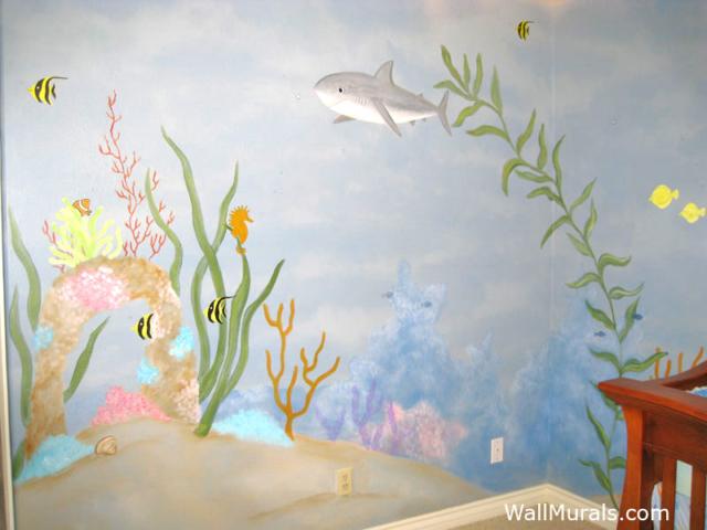 Undersea Wall Mural with Shark
