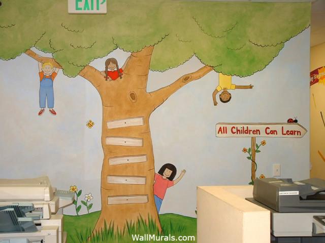 Preschool Wall Mural - Kids in Tree