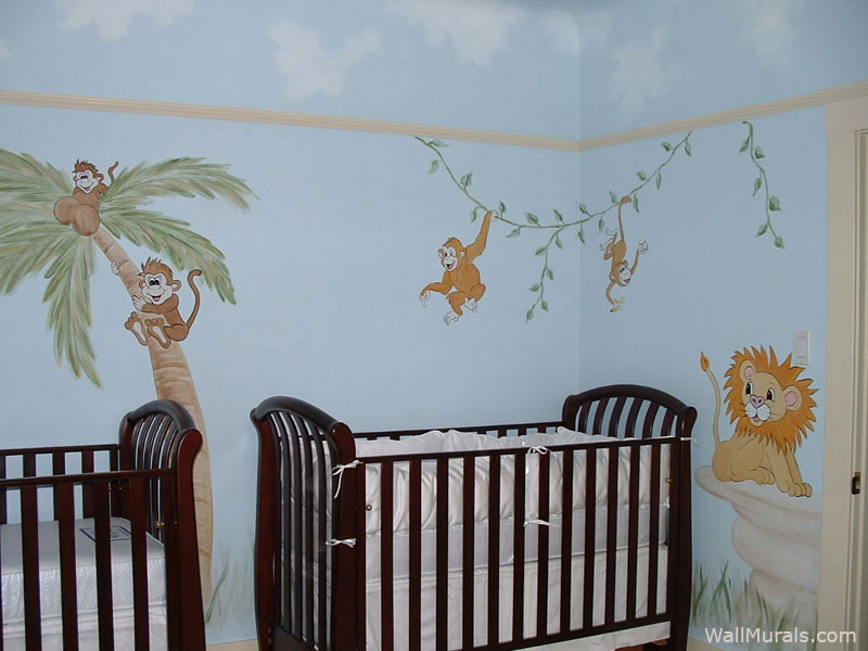 Jungle wall murals examples of jungle theme muralswall for Baby jungle mural