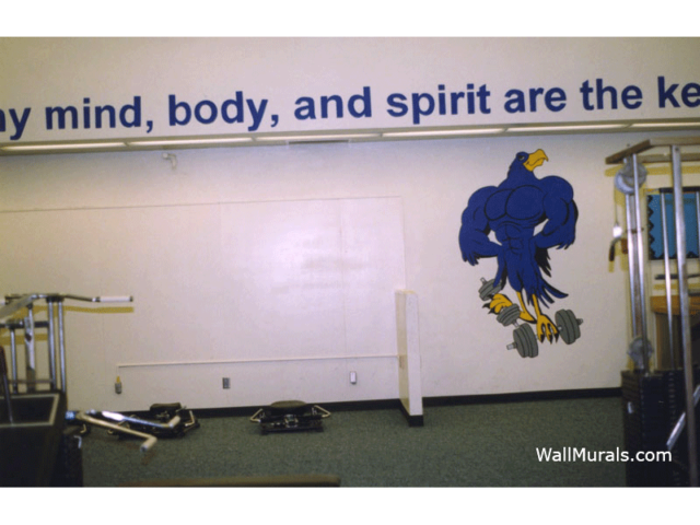 School Mascot Mural - Painted Quote in Gym