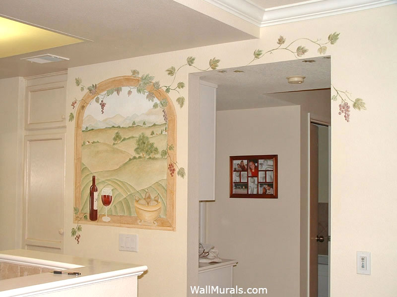 Painted Window Mural in Kitchen